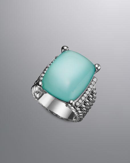 Wheaton Ring, Aqua Chalcedony, 20x15mm
