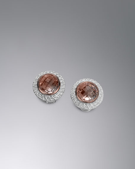 Cerise Earrings with Morganite and Diamonds
