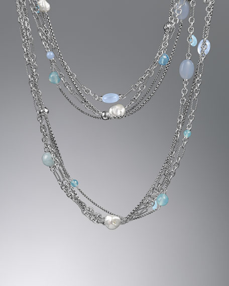 "Bijoux Necklace, Blue Chalcedony, 44""L"