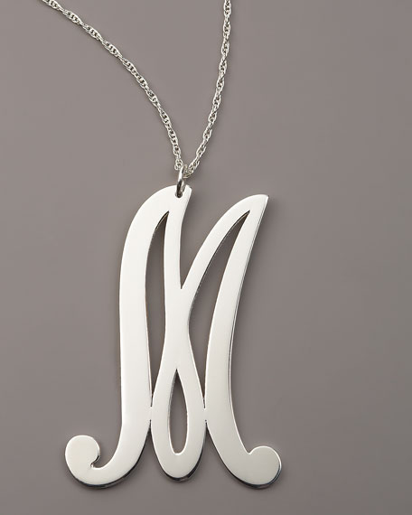 "Sterling Silver Initial Necklace, ""M"""