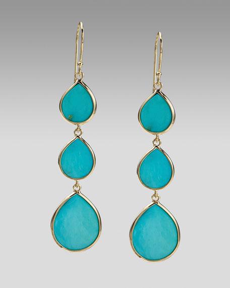 Triple Teardrop Earrings, Turquoise