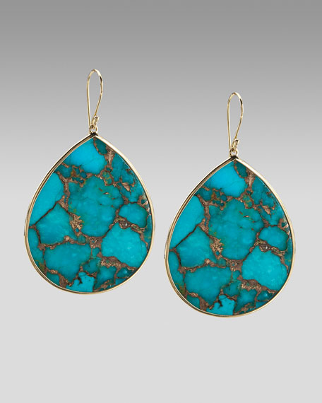 Extra-Large Teardrop Earrings, Bronze Turquoise