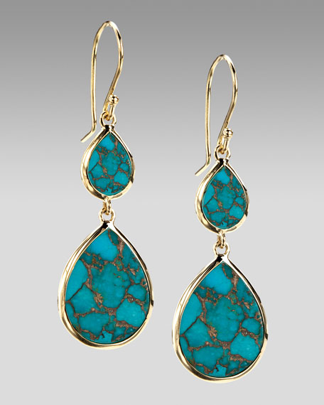 Two-Drop Earrings, Bronze Turquoise