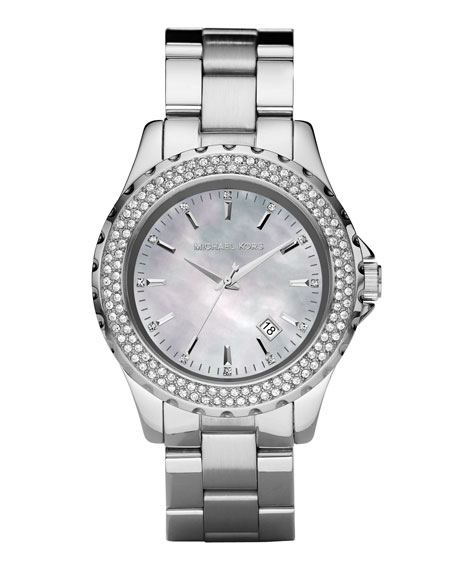 Mother-of-Pearl Glitz Watch, Silver