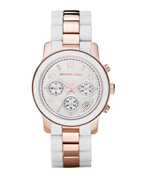 Two-Tone Silicone Watch, Rose Gold/White