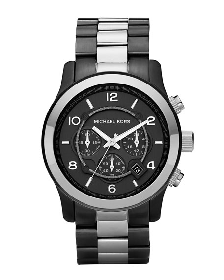 Oversized Two-Tone Chronograph Watch, Gunmetal/Silver