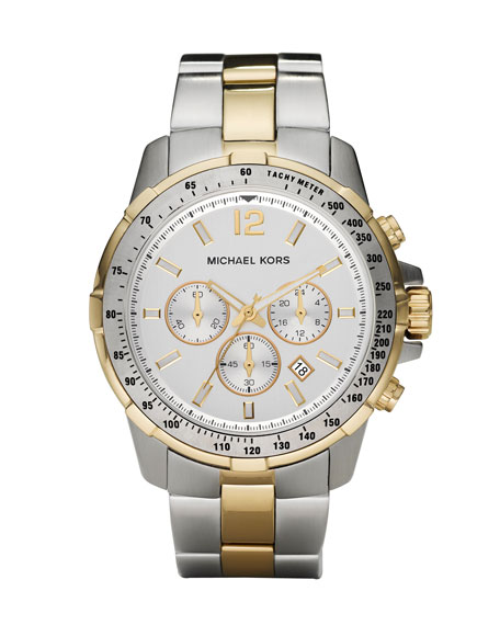 Two-Tone Chronograph Grayson Watch, Silver/Gold