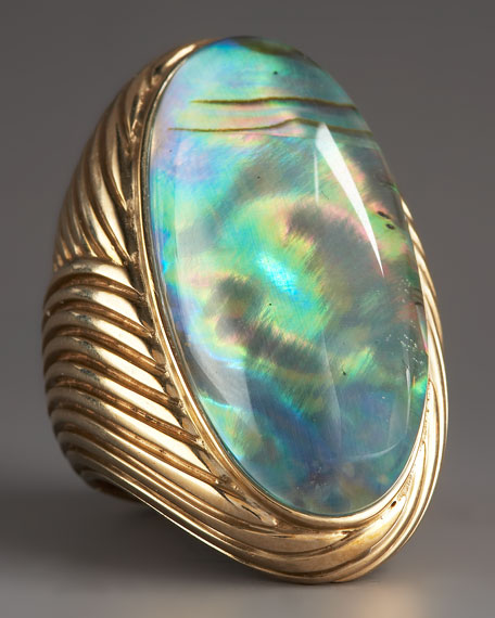 Abalone & Quartz Swirl Ring