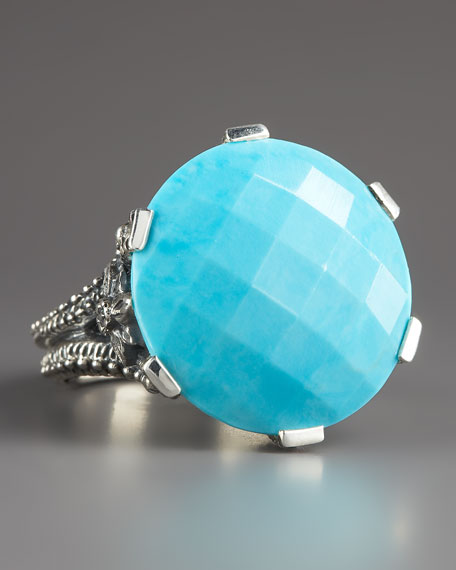 Round Turquoise Ring, 18mm