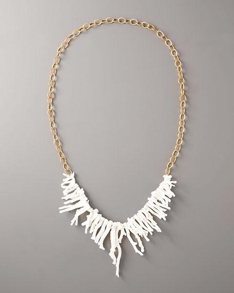 Coral Fringe Long Necklace