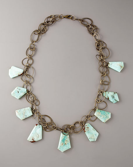 Antiqued Chrysoprase Long Necklace