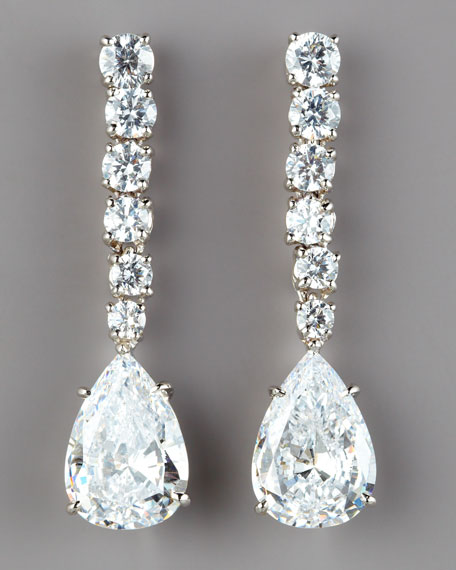 Graduated Cubic Zirconia Drop Earrings