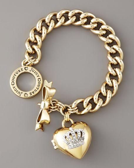 Heart-Locket Charm Bracelet