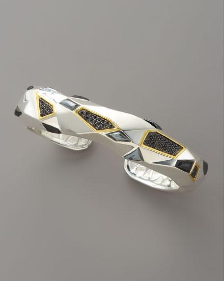 Pave Black Sapphire Cuff, Medium