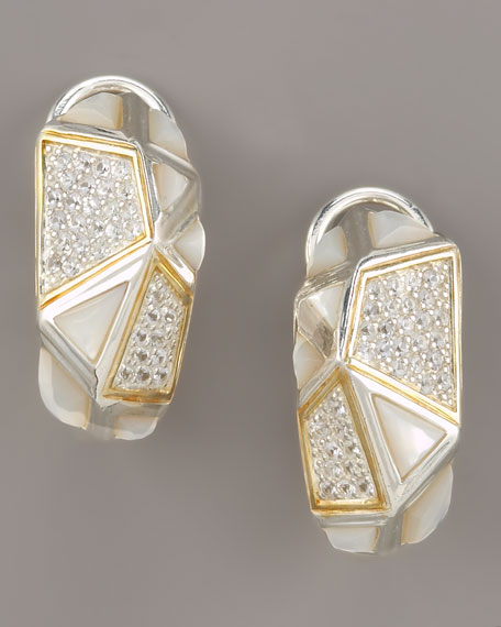 Mother-of-Pearl Omega Huggie Earrings