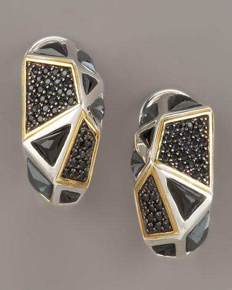 Black Onyx Omega Huggie Earrings