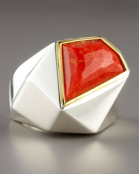 Faceted Big Coral Ring