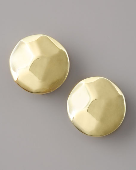 Glamazon Hammered Circle Clip Earrings
