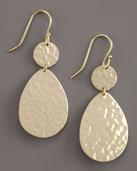 Hammered Two-Drop Earrings, Small