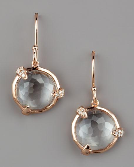 Diamond-Detail Rose Drop Earrings, Small