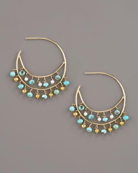 Turquoise & Pearl Hoop Earrings