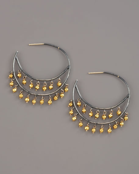 Beaded Hoop Earrings, Medium