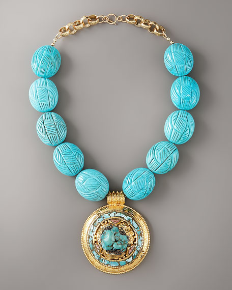 Etched Turquoise Pendant Necklace