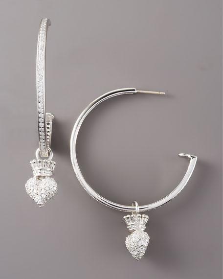 Pave Crowned Heart Hoop Earrings