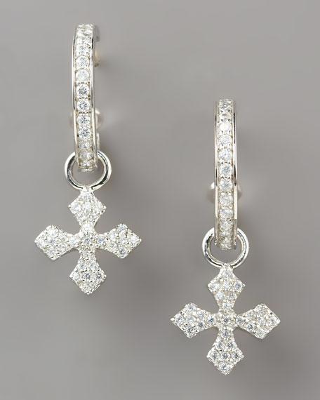 Pave Cross Hoop Earrings, Small