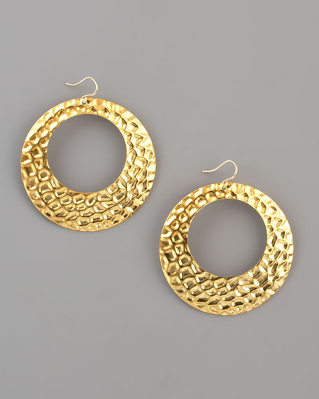 Hammered Gold Hoop Earrings