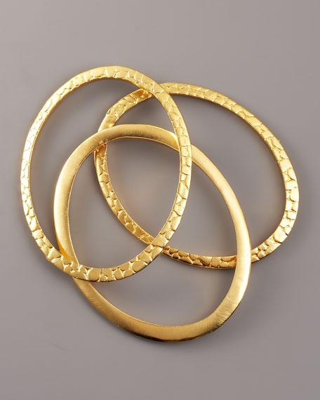 Oval Bangle Set, Three Pieces