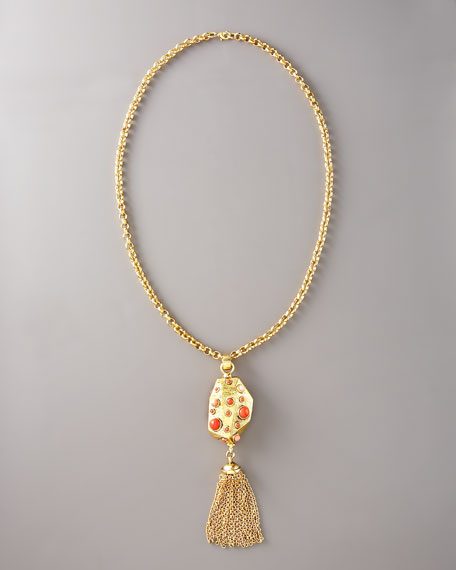 "Coral-Stone Tassel Pendant Necklace, 30""L"
