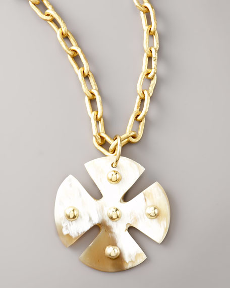 Light Horn Maltese Cross Pendant
