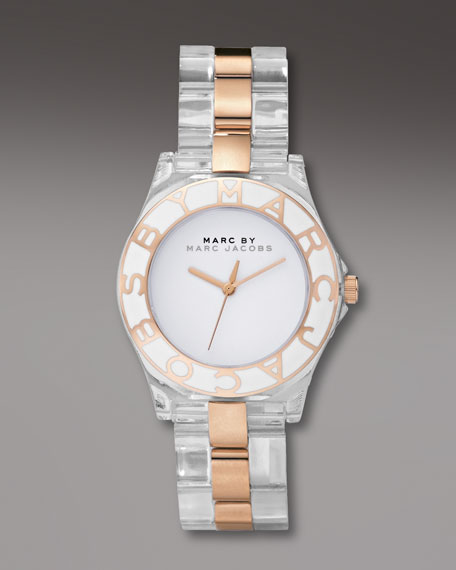 Two-Tone Logo-Bezel Watch, Golden