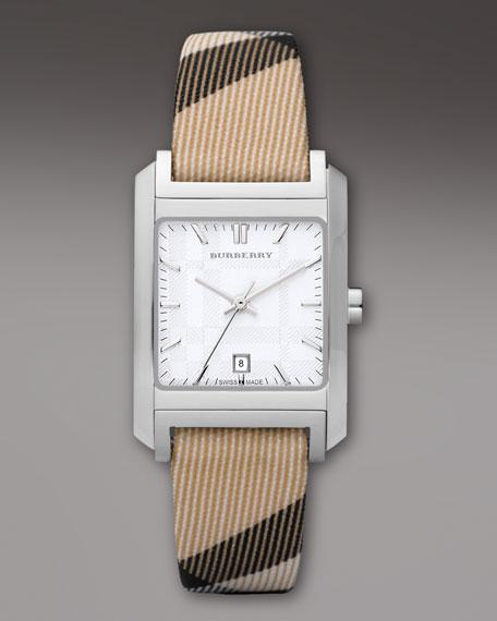 Check-Strap Square Watch
