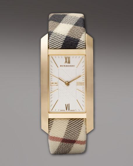 Check-Strap Rectangular Watch, Golden