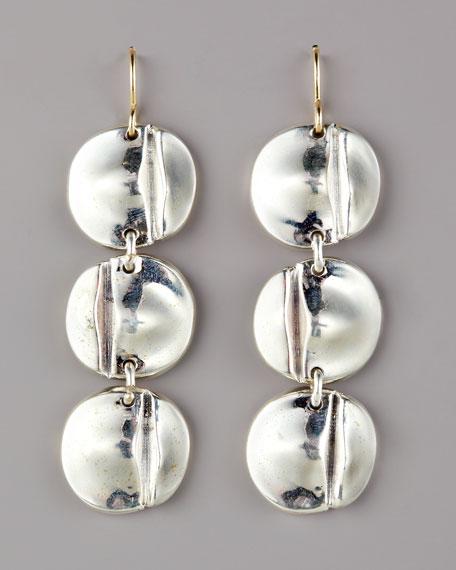 Three-Disc Drop Earrings