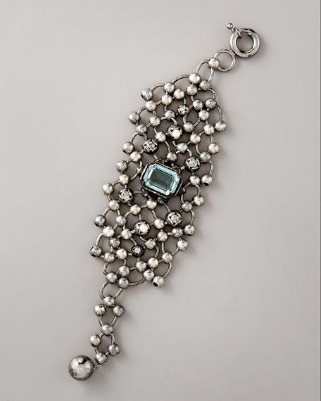 Beaded-Chain Cuff Bracelet, Gunmetal