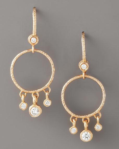 Round Diamond-Fringe Earrings, Rose Gold