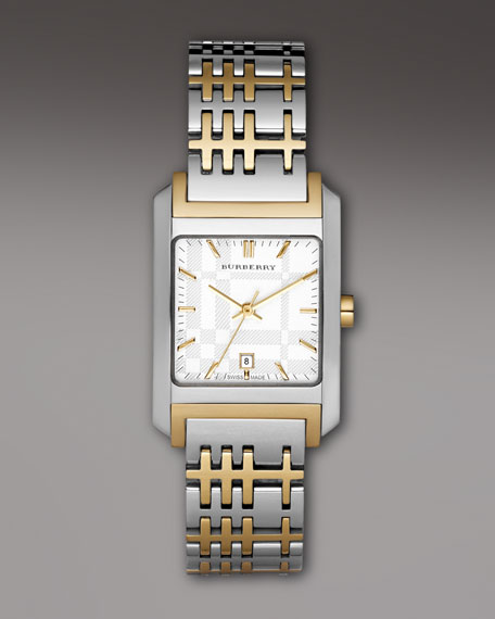 Two-Tone Check Watch