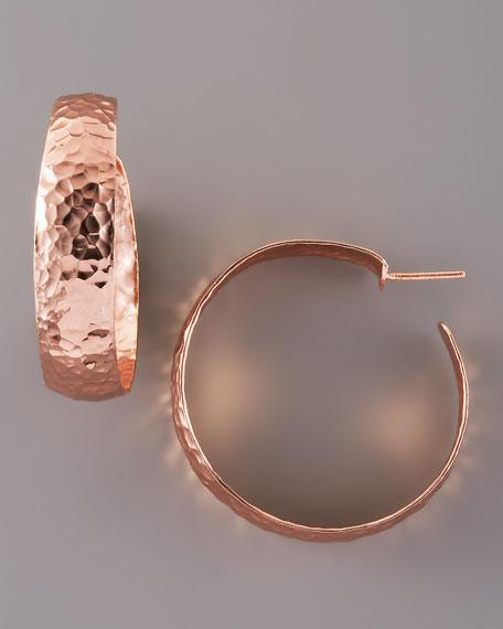 Essential Hammered Hoop Earrings, Rose Gold