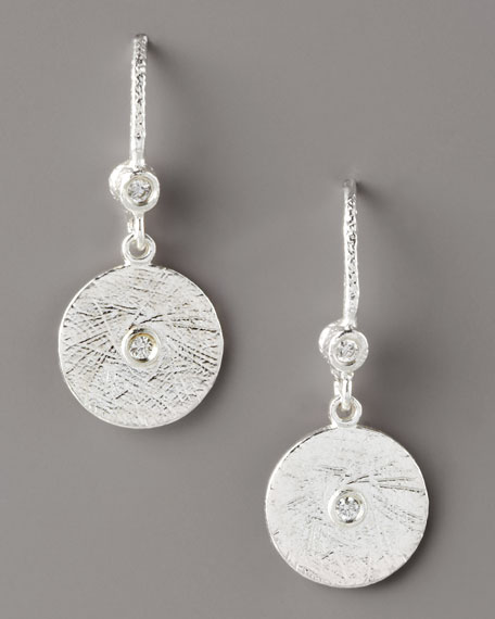 Textured Diamond Disc Earrings