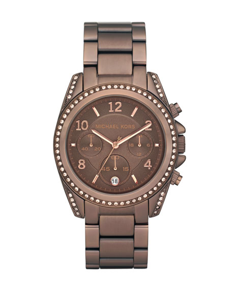 Brown Runway Watch with Glitz