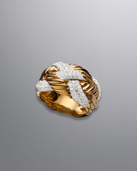Woven Cable Ring, Pave Diamond