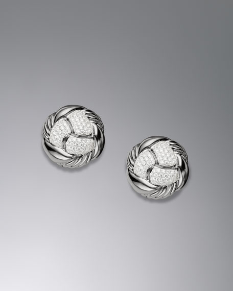 Woven Cable Earrings, Pave Diamond