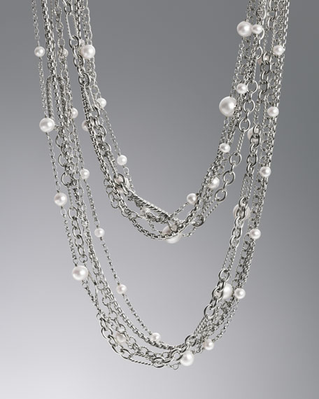"Multi Row Chain Necklace, Pearls, 34""L"