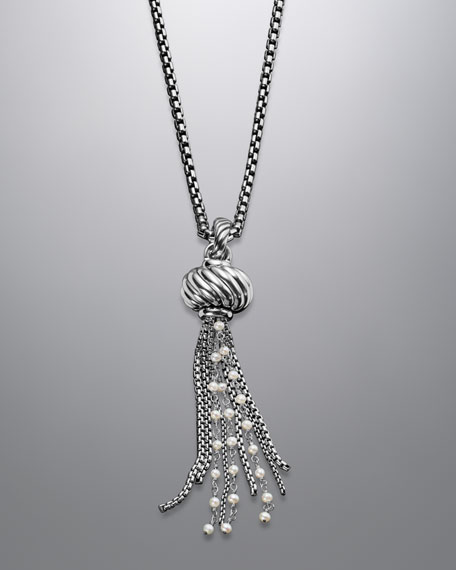 Cable Pearl Tassel Pendant on Chain