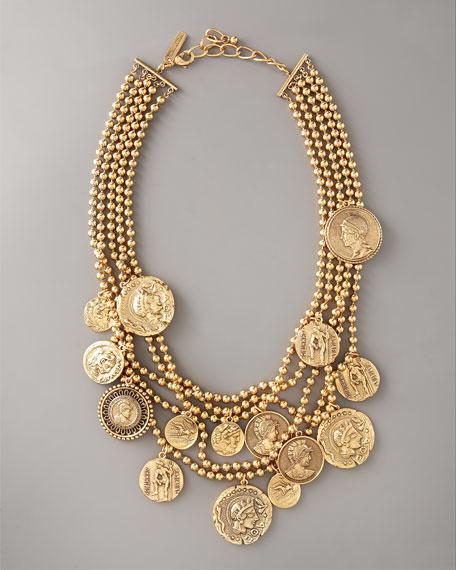 Multi-Strand Coin-Pendant Necklace