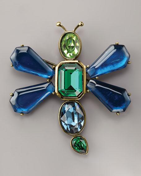 Crystal Bug Brooch, Blue