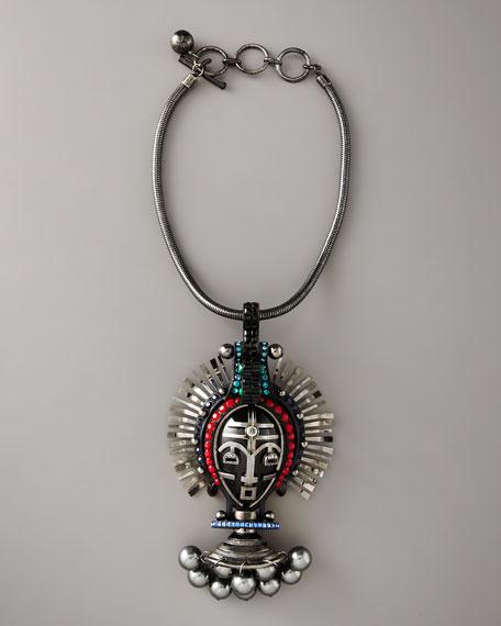 Mask Pendant Necklace, Silvertone